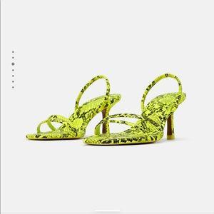 Neon python kitten heels
